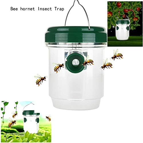 Outdoor Flying Bee Hornet Trap Catcher Hanging in The Tree Insect Control Reusable Fly Solar Powered Trap with LED Light
