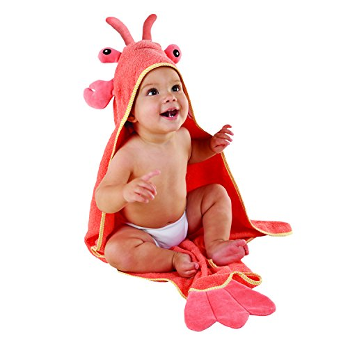 Baby Aspen, Lobster Laughs Lobster Hooded Towel, Red, 0-9 -
