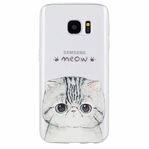 GreenDimension [Amusing Whimsical Design] Cushion Soft Crystal Clear TPU Slim Cute Cartoon Shock Absorption Scratch Resistant Silicone Protective Case For Samsung Galaxy S7 G930 - Adorable Cat (Pet) (Crystal Blue Fade Frame)