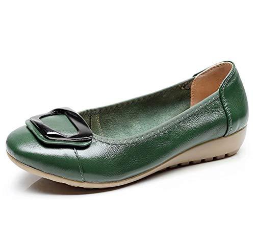 Women's Genuine Leather Comfort Ballet Flats Slip On Dress Shoes US Size 6 Dark Green