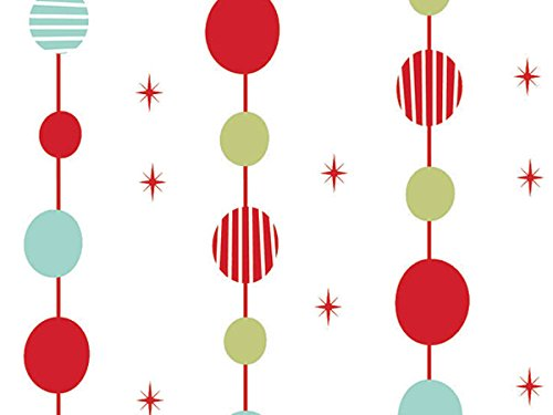 Pack Of 1, 30″ X 100′ 1.0 Mil Festivities Christmas Print Cello Rolls W/Ovals & Stars Made In USA