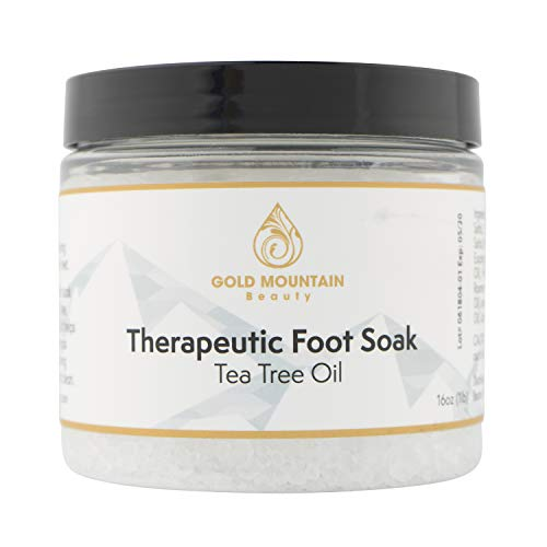 Tea Tree Oil Foot Soak with Epsom Salt. Helps Soak Away Athletes Foot, Fungi Nail, Toe Nail Fungus & Stubborn Foot Odor – Anti-Fungal, Anti-Bacterial, Soften Calluses & Soothes Sore Tired Feet (White), 16oz.