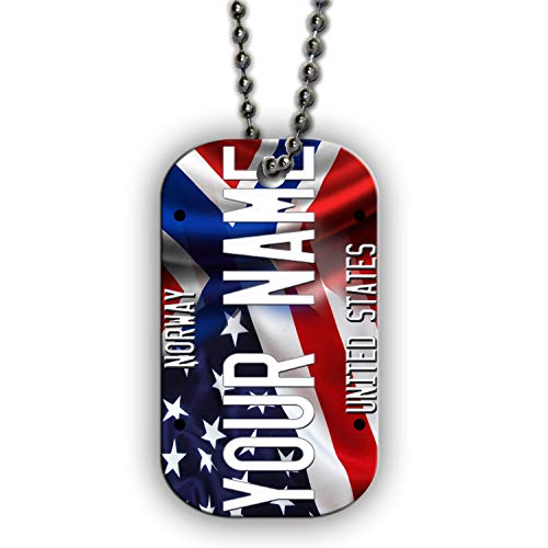 BRGiftShop Customize Your Own Mixed USA and Norway Flag Single Sided Metal Military ID Dog Tag with Beaded Chain