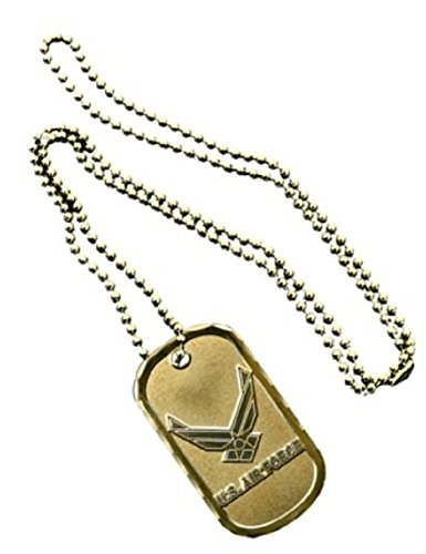 Dual Wing (United States Armed Forces Division Usaf AIR Force Wings Name Dual Tone Logo Symbols - ALL Metal Military Dog Tag Luggage Tag Key Chain Metal Chain Necklace)