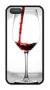 Unique Design Illustration Art Painting - A Glass Of Red Wine Custom Protective Soft TPU Back Case Cover for iphone 5 5S (Black)