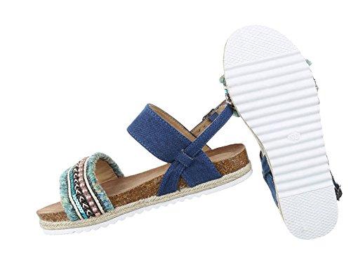 Damen Sandalen Schuhe Strandschuhe Sommerschuhe Riemchen Blau