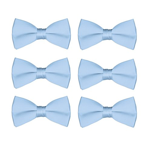 Boys Bow Tie Wholesale 6 Pack Children Pre-Tied Formal Tuxedo Bowties Kids Solid Ties (Sky Blue) by FoMann