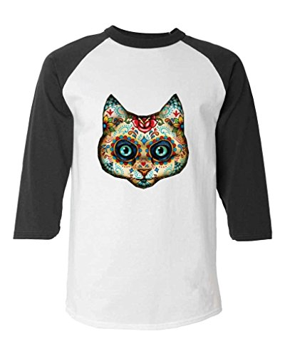 Sugar Skull Cat Baseball Shirt Day of the Dead Raglan ShirtLarge White/Black 17020 (Sugar Skull Cat)