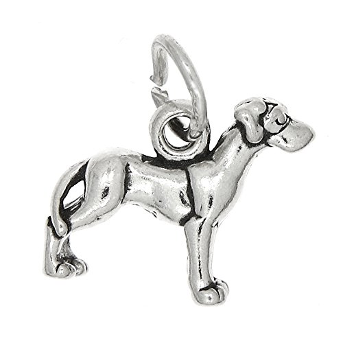 (Sterling Silver Oxidized Small Puppy Great Dane Dog Charm or Pendant)