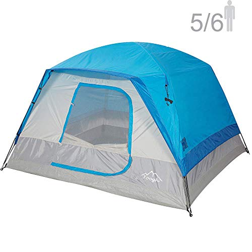 Toogh 5-6 Person Camping Tent Waterproof Backpacking Tents for Outdoor Sports10' x 9' -Center Height 74in[Blue]