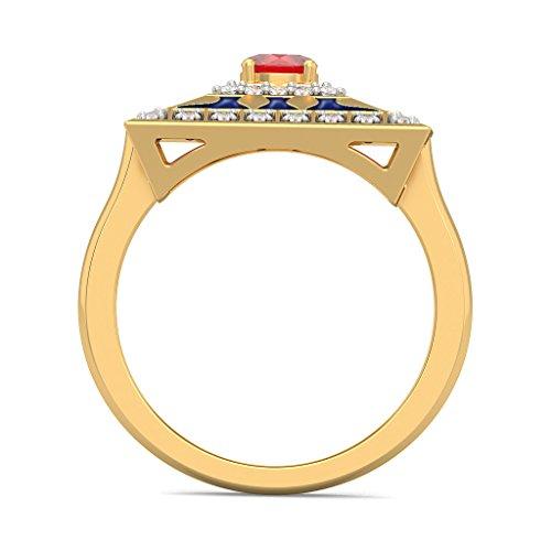 14K Or jaune, 0.24carat Diamant Blanc (IJ | SI) Rubis et diamant Bague