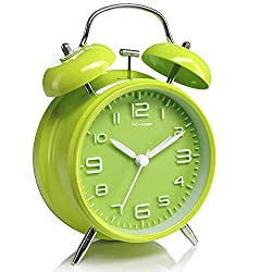 Peakeep 4 inches Twin Bell Green Alarm Clock, Battery Operated, Loud (Green)