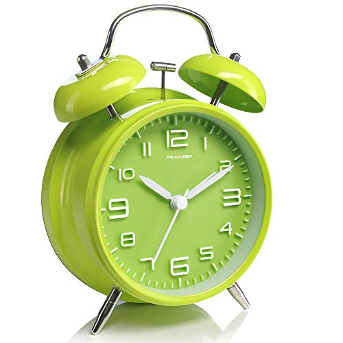 Peakeep 4 i nches Twin Bell Green Alarm Clock, Battery Operated, Loud (Green)