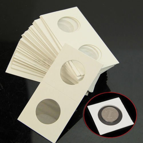 Grocery House Coin Holder,Cardboard Coin Holder Flip Mega Assortment,50pcs 40mm 2x2 Cardboard Resealable Coin Holders for Coin Collection Supplies