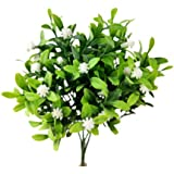 Pick Flor Branca Folha Verde Planta Artificial 29x14cm