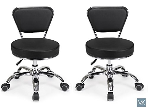 Set of 2 Dayton Pedicure Stool (Black) Pneumatic, Adjustable Height, Perfect for Nail Salon, Pedicure spa