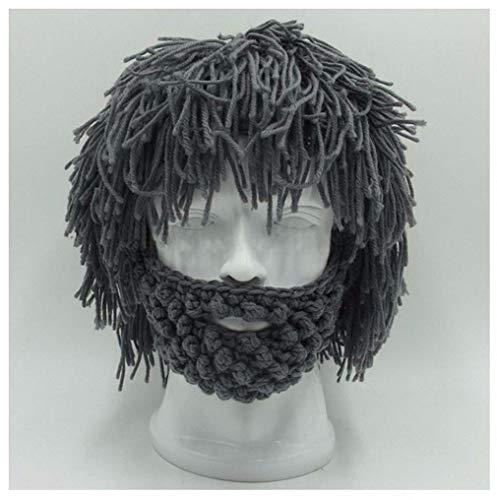 Womens Mens Skullies Beanies Hat Handmade Knitted Men Winter Crochet Mustache Hat Beard Beanies Face Tassel Bicycle Mask Ski Warm Cap Funny Hat Gift New Gray (Polo Ralph Lauren Womens Hat)