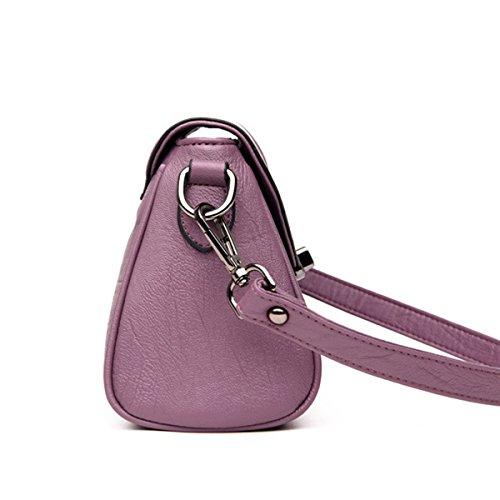 Bolsos De Cuero De La PU De Las Mujeres De La Manera Hombro Crossbody Bolsa Satchel Multicolor Purple