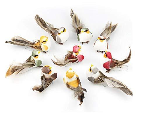 Shiwaki 12 Piezas de Figuras de pájaros pájaros de Plumas de Espuma Artificial para Manualidades de Bricolaje decoración…
