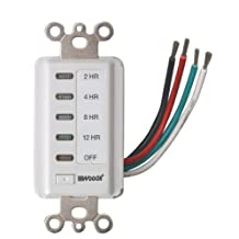 Woods 59014 12-Hour Decora Style 12-8-4-2 Hour Preset Wall Switch Timer (White)