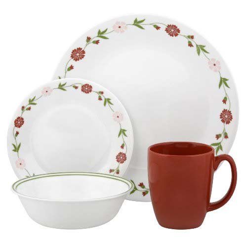 Corelle Round 16 Piece (Corelle Contours 16-Piece Dinnerware Set, Spring Pink, Service for 4)