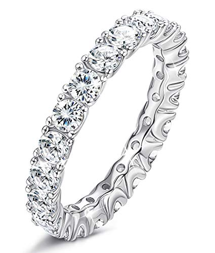 (Sllaiss 925 Sterling Silver Eternity Ring Cubic Zirconia Luxury Engagement Ring Wedding Band Ring for Women Set with Swarovski Cubic Zirconia)