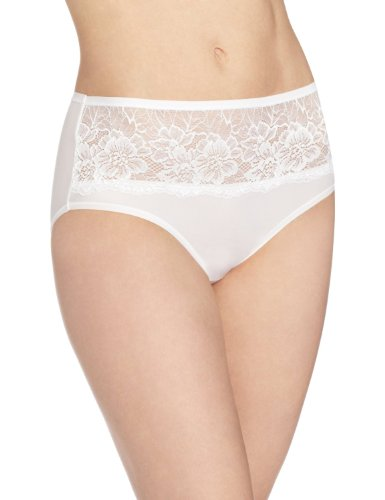 Bali Womens One Smooth U Comfort Indulgence Satin with Lace Hipster Panty, White, Large/7