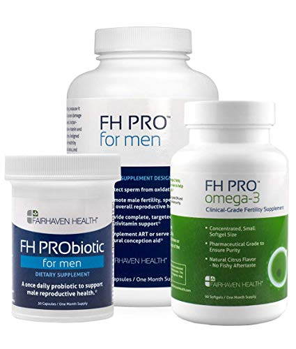 FH PRO Daily Essentials Bundle for Sperm Count and Motility, Daily Fertility Prenatal Nutrient Support, Probiotic Support for Gut and Sperm, Omega 3 for Cell Membrane Health, 30 Day Supply