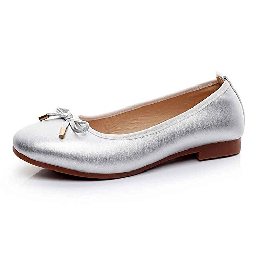 Non 40 43 Slip Driving Ballerina LIURUIJIA Size Soft Pregnant Loafers Casual Shoes Boat Bow Silver Ballet Round Big Women Flats Flat Large HAZSq