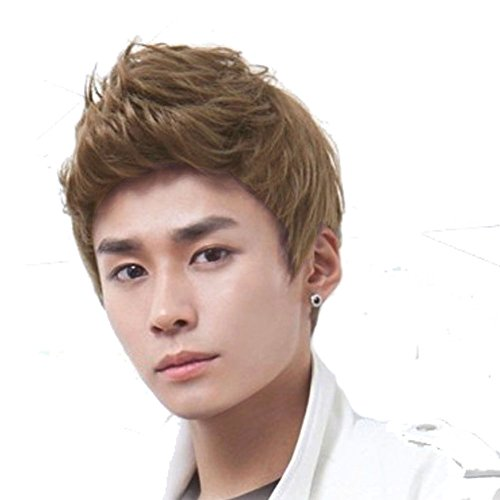 RightOn New Fashion Cool Man Boys Short Wig with Wig Cap (Light Brown) - Man Wigs