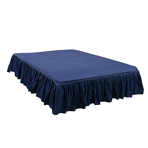 uxcell Bed Skirt Brushed Polyester Bed Ruffle, Pleated Styling, 3 Sided Coverage - with 14 Inch Drop Navy Blue, King Size(80-Inch-by-78-Inch)