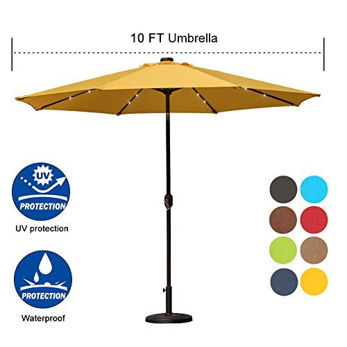 - Sundale Outdoor 10 ft Solar Powered 24 LED Lighted Patio Umbrella Table Market Umbrella with Crank and Push Button Tilt for Garden, Deck, Backyard, Pool, 8 Steel Ribs (Yellow)