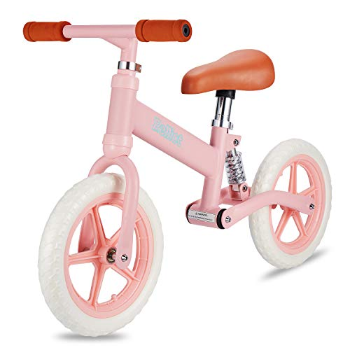 PELLIOT Balance Bike-12 Wheels Light Weight No-Pedal Toddlers Push Bike for Children Age 1.5-5 (Pink)