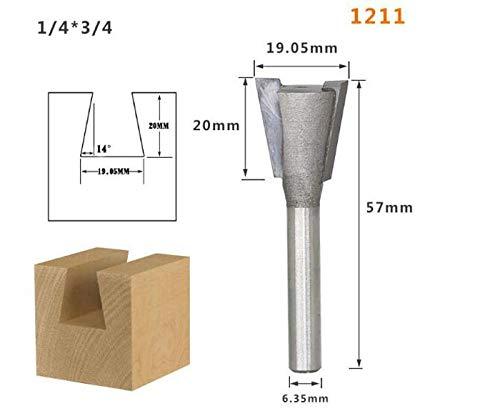 Dovetail Fresas de 1pc1 4 1//2 mm V/ástago Grado Industrial Cortador de Madera de Cola de Milano Fresas for Madera tungsteno Herramientas del Grabado FMN-TOOLS tama/ño : 1201
