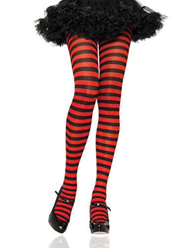 Leg Avenue Women's Nylon Striped Tights, Black/red, One Size