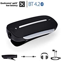 Avantree aptX LOW LATENCY Bluetooth 4.2 Audio Adapter for Headphones with Clip / Microphone, Wireless Receiver for Handsfree Call and Music - Clipper Pro