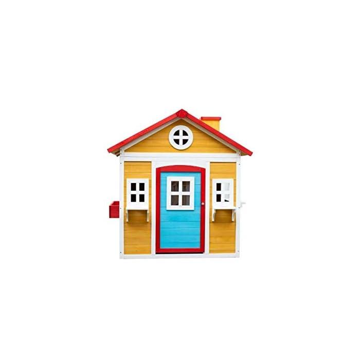41Zxr Tvc2L La casita Visby es una preciosa casita con unos colores que a los niños les encantará. Son colores muy cálidos y agradables que harán de esta casita un lugar del que no salir. La casita Visby es de un tamaño compacto, apta para cualquier jardín o patio particular. La casita Visby tiene muchos detalles que darán vida a esta casa. Desde sus ventanas fijas y practicables hasta los maceteros o incluso una chimenea en su interior! La casita Visby parece una casa de madera de verdad, un auténtico refugio donde sus sueños se harán realidad. La casita Visby está fabricada de madera de pino y está tratada para ser instalada al exterior. El montaje de la casita es fácil y te llevará poco tiempo. En unos minutos tendrás la casita Visby montada y lista para instalar en cualquier espacio de tu jardín y a punto para que jueguen con ella durante horas y horas.