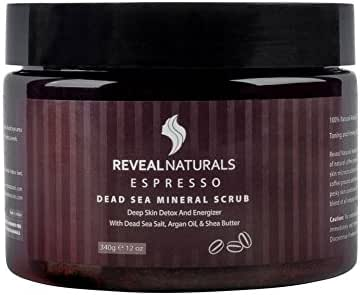 Exfoliating Arabica Espresso Coffee Scrub - Organic Facial & Body Scrub Exfoliator -Dead Sea Salts, Argan oil, Shea Butter & Coconut Oil - For Stretch Marks, Cellulite, Acne, Eczema & varicose veins