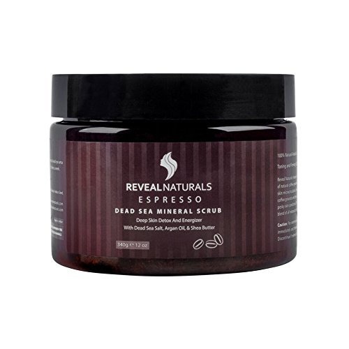 Reveal Naturals Body Scrub - Coffee Arabica Expresso Face Scrub -Dead Sea Salt Facial Scrub Helps with Acne - Spider Veins- Cellulite Treatment - 12 Ounces