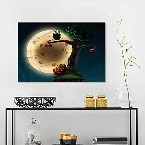 one1love Halloween DIY Oil Painting Spooky Tree with an Owl On Canvas Abstract Artwork W35 xL23]()