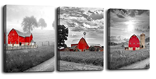 Canvas Wall Art for Bedroom Bathroom Black and White Country Rustic Farm Red Cabin Canvas Wall Decor Picture Artwork Framed Ready to Hang for Living Room Home Wall Decoration Size 12x16 3 Piece a Set