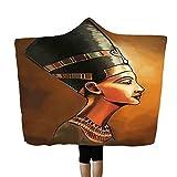 SMALLE ‿ Egyptian Hooded Blankets Polyester Mens Women Novelty Blanket Throw Black 60X80 Inch