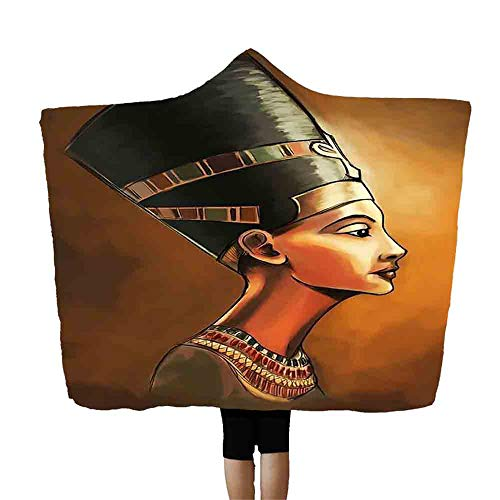 SMALLE ◕‿◕ Egyptian Hooded Blankets Polyester Mens Women Novelty Blanket Throw Black 60X80 Inch ()