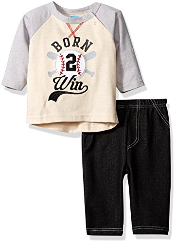 BON BEBE Boys' 2 Piece Long Sleeve Top with Side Snaps and Knit Denim Pant, Born Win Natural, 6-9 Months