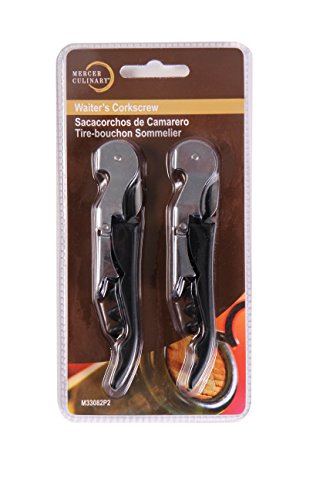Cheap Mercer Culinary M33082P2 Packaged Waiter's Corkscrew (2 Pack), Black
