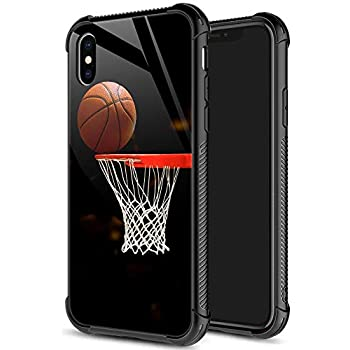 iPhone XR Case,9H Tempered Glass iPhone XR Cases for Men Boys,Funny Basketball Pattern Design Printing Shockproof Anti-Scratch Case for Apple iPhone XR 6.1 inch Basketball
