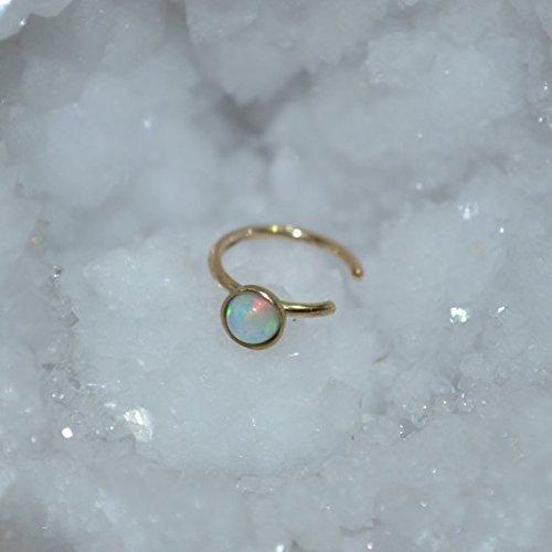 Extra Small 14k Gold Filled Tragus Cuff - 3mm White Opal Ear Cuff - Faux Piercing - Cartilage Cuff - Nose Cuff - Helix Cuff 18 (3mm Cuff)