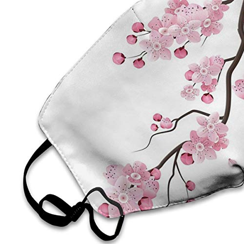 Mouth Mask For Daily Dress Up, Cherry Blossom Anti-dust Mouth-Muffle, Washable Reusable Holiday Half Face Masks For Mens And Womens With Adjustable Earloop