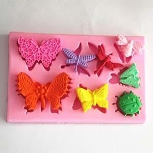 Longzang diseño de mariposas y libélulas Beetle decoración art deco silicona para piruletas de azúcar Craft DIY pasta de goma decoración de pasteles de arcilla rosa