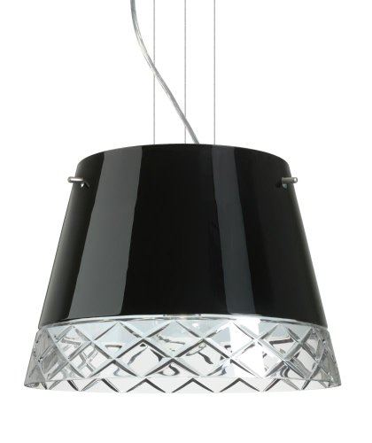 Besa Lighting 1KV-4340BC-LED-SN 3X6W GU24 Amelia 15 LED Pendant with Black/Hand-Cut Glass, Satin Nickel - Amelia Led Sn Satin